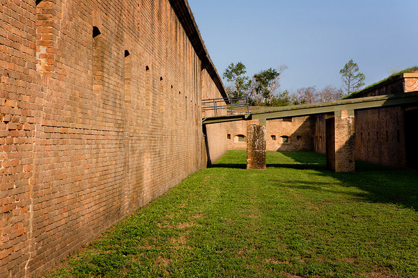 Looking between the Scarp and Counterscarp Galleries of Fort Barrancas, Gulf Islands National Seashore (Florida & Mississippi). Fort Barrancas is located on the Pensacola NAS, Pensacola, Florida.