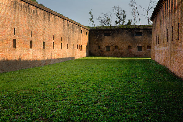 Area between the Scarp and Counterscarp Galleries with Cannon and rifle ports in the Counterscarp Gallery at Fort Barrancas, Gulf Islands National Seashore (Florida & Mississippi). Fort Barrancas is located on the Pensacola NAS, Pensacola, Florida.