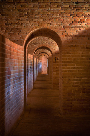 Looking down one side of the Scarp Gallery inside Fort Barrancas, Gulf Islands National Seashore (Florida & Mississippi). Fort Barrancas is located on the Pensacola NAS, Pensacola, Florida.