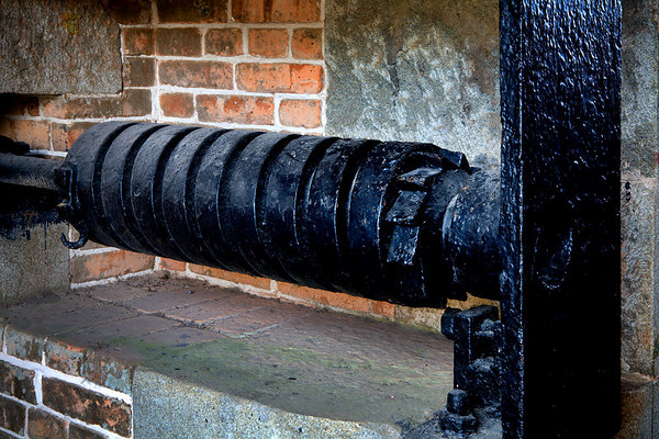Part of the mechanism to raise and lower the bridge to the entrance to Fort Barrancas, Gulf Islands National Seashore (Florida & Mississippi). Fort Barrancas is located on the Pensacola NAS, Pensacola, Florida.