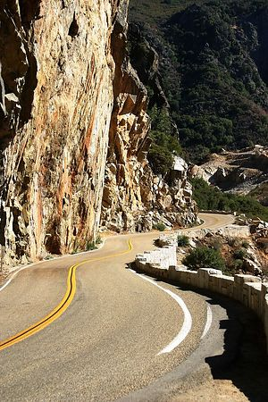 Scene along the Kings Canyon Scenic Byway showing the twists and turns and shear cliffs.