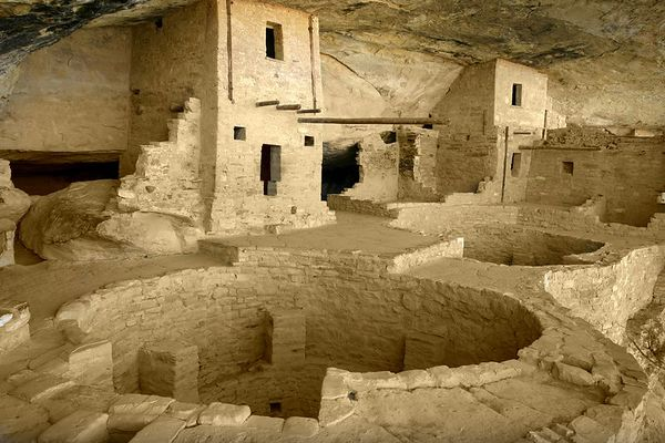 Portion of Balcony House showing kivas and rooms at Mesa Verde National Park in Colorado.