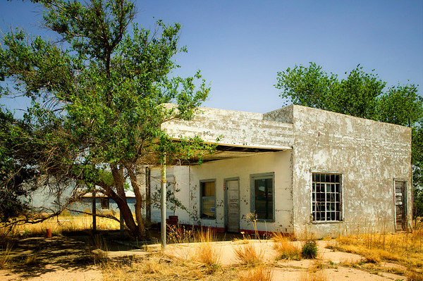 Old deserted service station found just after crossing into New Mexico from Texas on Historic Route 66.