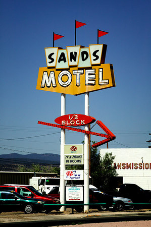 Sign advertising Sands Motel in Grants, New Mexico on Historic Route 66.