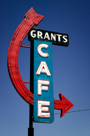 Sign for Grants Cafe in Grants, New Mexico on Historic Route 66.