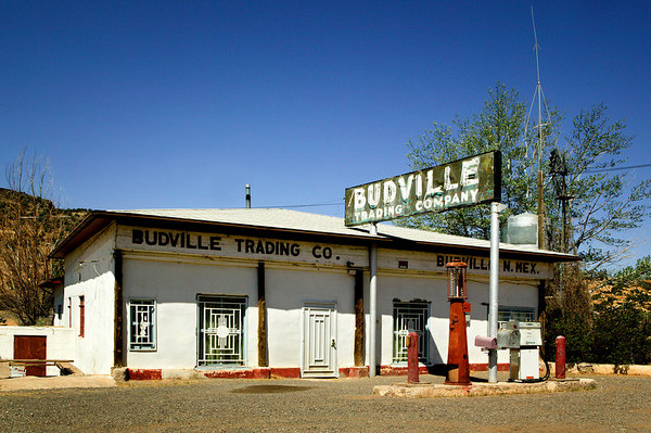 An old 1930's filling station which was turned into the Budville Trading Post in Budville, New Mexico along old Historic Route 66.