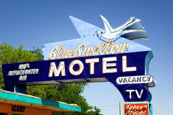 Sign for the Blue Swallow Motel in Tucumcari, New Mexico on Historic Route 66.