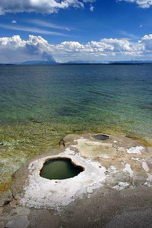 Twin Cones - geysers on the edge of Yellowstone Lake