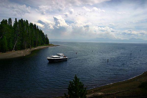 Boat on Yellowstone Lake
