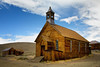 Church in the ghost town of Bodie in Bodie State Historical Site, California. Bodie State Historical Site is located just a few miles northeast of the east entrance (Mono Lake) to Yosemite NP.