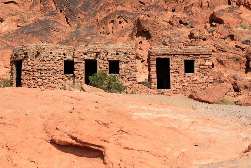 Stone cabins built for early 1900's tourists at Red Rock Canyon State Park.