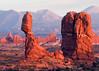 Balanced Rock, Turret Arch and La Sal Mountains, Moab, Utah.