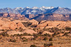 A view of the La Sal Mountains from the Sandflats Recreation Area just outside of Moab.