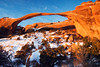 February sunrise at Landscape Arch, Arches National Park.