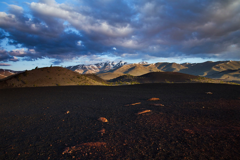 "Morning over Craters of the Moon.  This was taken with a 3-stop Reverse ND grad to get the whole scene exposed correctly in one shot.  The ""big hill"" in the background is Blizzard Mt (9276'); it's the southern-most peak of the Pioneers."