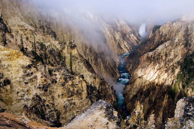 I woke up very early to drive from Grant's Village to Artist Point at the Grand Canyon of the Yellowstone for sunset.  I waited for the fog to lift along with another photographer for two hours.  We were finally rewarded with a great morning view of the canyon and falls.
