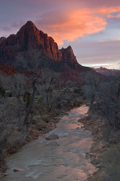 Sunset on the Watchman with Virgin River reflection, Zion National Park.  (Taken with a 3-stop soft and 2-stop soft GND filter.)