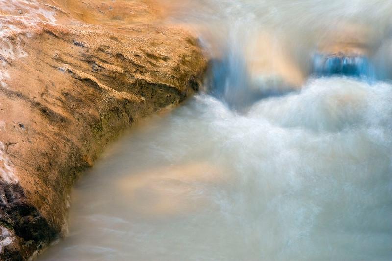 Virgin River and sandstone detail on the Riverside Walk, Zion National Park