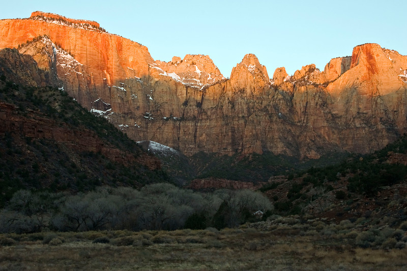 West Temple and Altar of Sacrifice at sunrise, Zion National Park