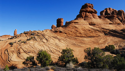 Sand stone formations next to Double Arch  at Arches National Park.