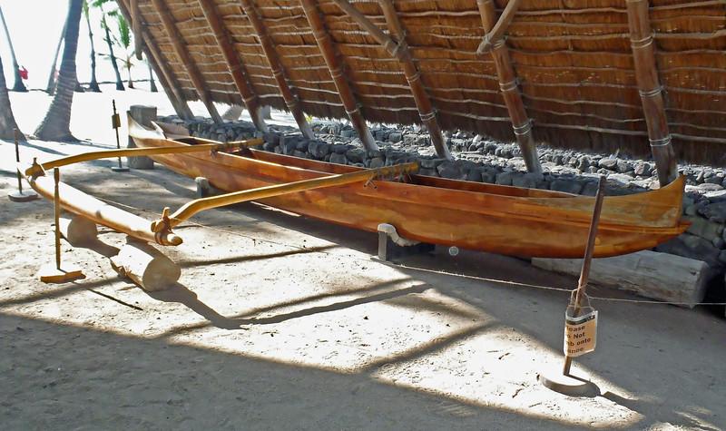 July 19, 2014.  Canoe at Pu'uhonua O Honaunau National Historic Park, Hawaii Big Island