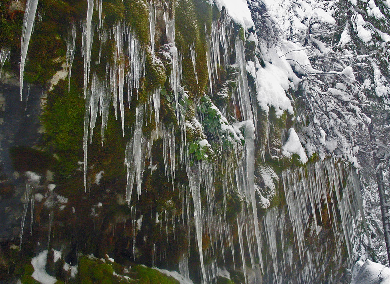 March 26, 2011.  Ice on the marble wall outside the cave.