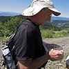 July 4, 2013.  Examining a captured butterfly for identification. NABA Butterfly Count.  Cascade-Siskiyou NM, Oregon.