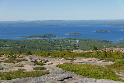 looking down across Bar Harbor. you can see the sand bar going out to Bar Island this is at low tide.