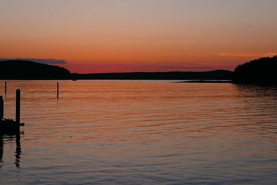 sunset looking across Bar Harbor