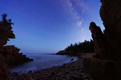 Back Against the Rocks, Blue Hour Milky Way, Monument Cove, Acadia National Park