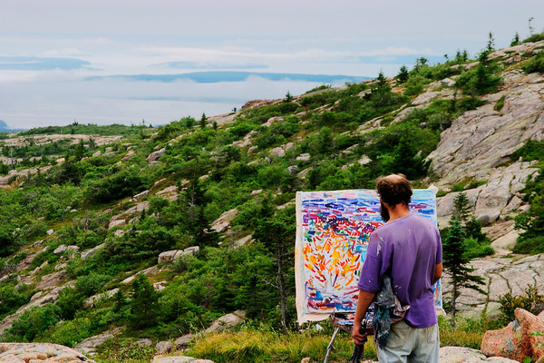 Painter in Acadia National Park, Maine