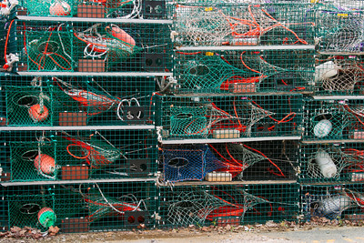 Lobster Traps Stacked On a Fishing Pier