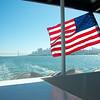 VIew from ferry to Alcatraz Island, San Francisco Bay Area, California, February 2014.