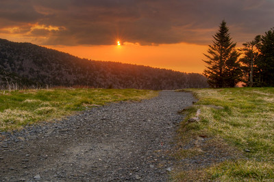 Warn sunset from the top of Round Bald at Mile 375 on the Appalachian Trail in VA on Sunday, May 3, 2015. Copyright 2015 Jason Barnette