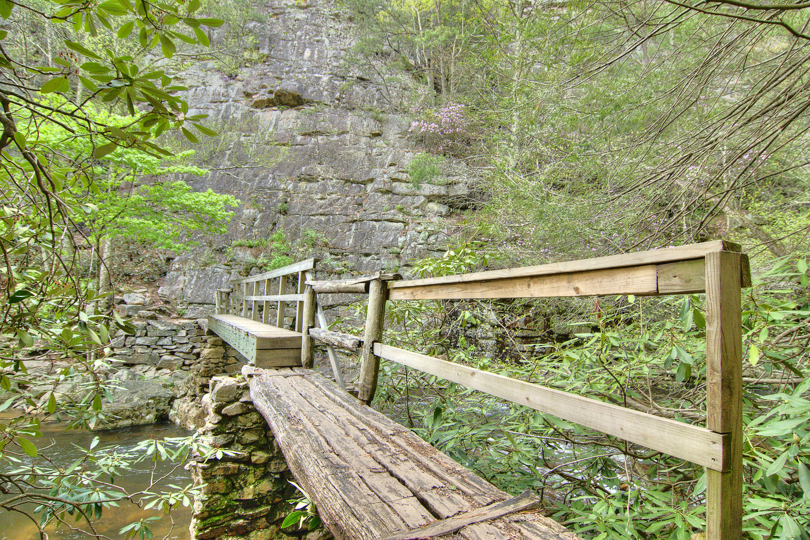 A wooden bridge crosses the Laurel Forks River facing a towering rock wall near Mile 413 on the Appalachian Trail near the Laurel Gorge in TN on Friday, April 27, 2012. Copyright 2012 Jason Barnette