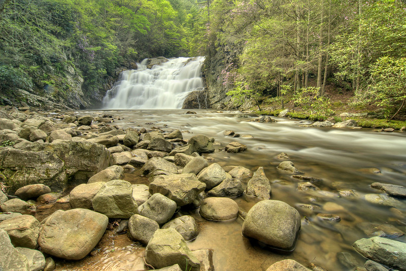 The massive Laurel Fork Falls at Mile 413.8 on the Appalachian Trail in TN on Friday, April 27, 2012. Copyright 2012 Jason Barnette