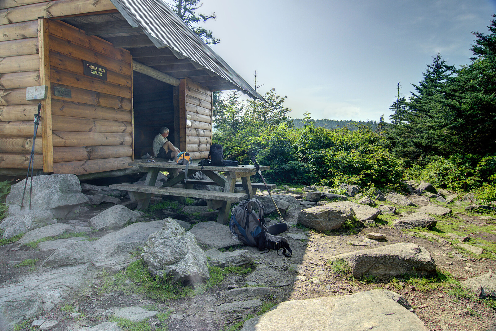 A man takes a break during a short day-hike at the Thomas Knob Shelter at Mile 491 on the Appalachian Trail in VA on Wednesday, August 1, 2012. Copyright 2012 Jason Barnette