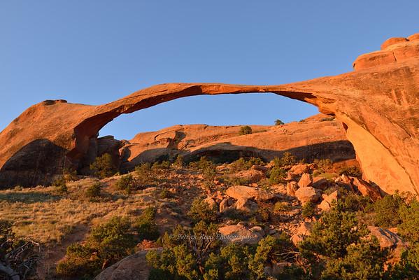 Landscape Arch glowing in sunrise light