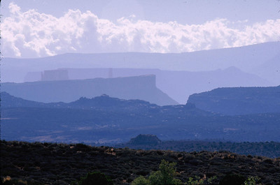 This view is looking south from Arches NP into the LaSalle Mountains.
