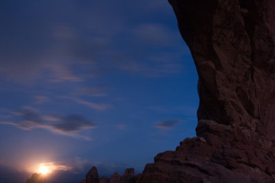 Moonrise at North Window, Arches National Park, Moab, Utah
