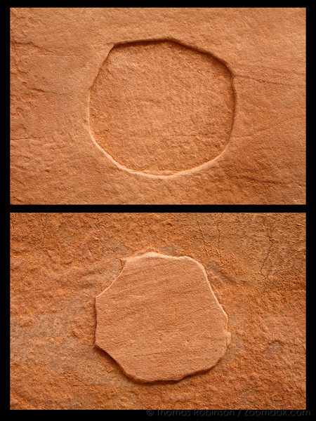 Two images compiled of circle formation in the sandstone along the cliffs near Landscape Arch.