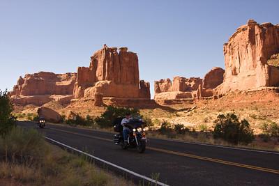 Biking through Arches National Park, Moab, Utah