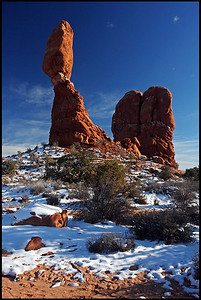 Balanced Rock with fresh snow