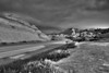 The Badland's scenic road in black and white.