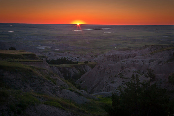 Sunrise over the Badlands.