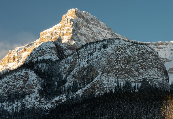 Sunrise on Mount Whyte, Big Beehive in still cool in the shade