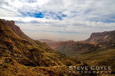It was a smoky day on the Lost Mine Trail in Big Bend. The cold front was just pushing out the smoke from the seasonal fires in Central America.