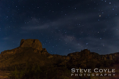 The skies over the Chisos Basin in Big Bend National Park. Casa Grande is on the left and Toll Mountain is on the right.