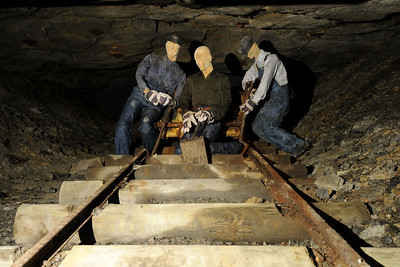 A trio of mannequins portraying miners inside the entrance of the mine at the Blue Heron Mining Camp in Stearns, KY on Monday, May 27, 2013. Copyright 2013 Jason Barnette  The Blue Heron Mining Camp is located about 10 miles outside Stearns. Also known as Mine 18, it was operated by the Stearns Coal and Lumber Company from 1937 - 1962.  Today the camp is open to the public and managed by the National Park Service as part of the Big South Fork National River and Recreation Area.