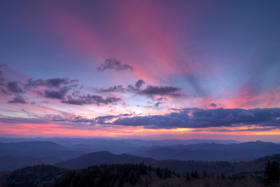 Sunset at Cowee Mountain Overlook on the Blue Ridge Parkway in NC